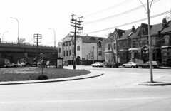 Historic photo from Sunday, May 22, 1988 - King St E. looking north-west, from Sumach St. by collations in Corktown