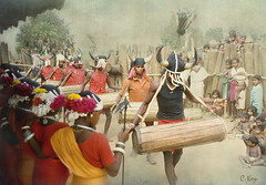 Entrance of The Drummers (Muria 7) (Collin Key) Tags: india youth jungle ind adivasi chhattisgarh muria bastar youthhouse ghotul collinkey chelik nayanar gondtribes tribalpeopleofindia villagedormitory motiari kingdomoftheyoung verrierelwin rodericknight