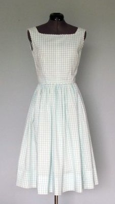 1960s Aqua and White Gingham Sundress