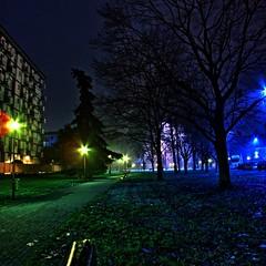 Artificial Light (Ailuros (limited connectivity)) Tags: park trees urban italy milan tree green grass night geotagged lumix photo streetlight streetlamp milano gimp panasonic lamppost hdr luminance fattal lx3 qtpfsgui dmclx3 mantiuk