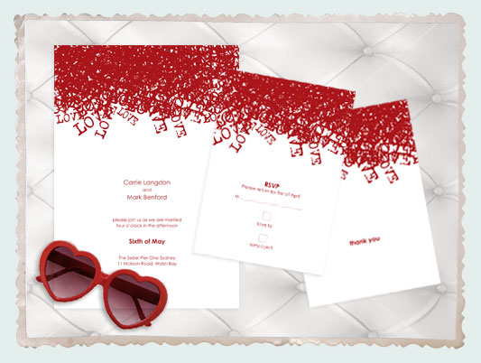 love love love wedding stationery