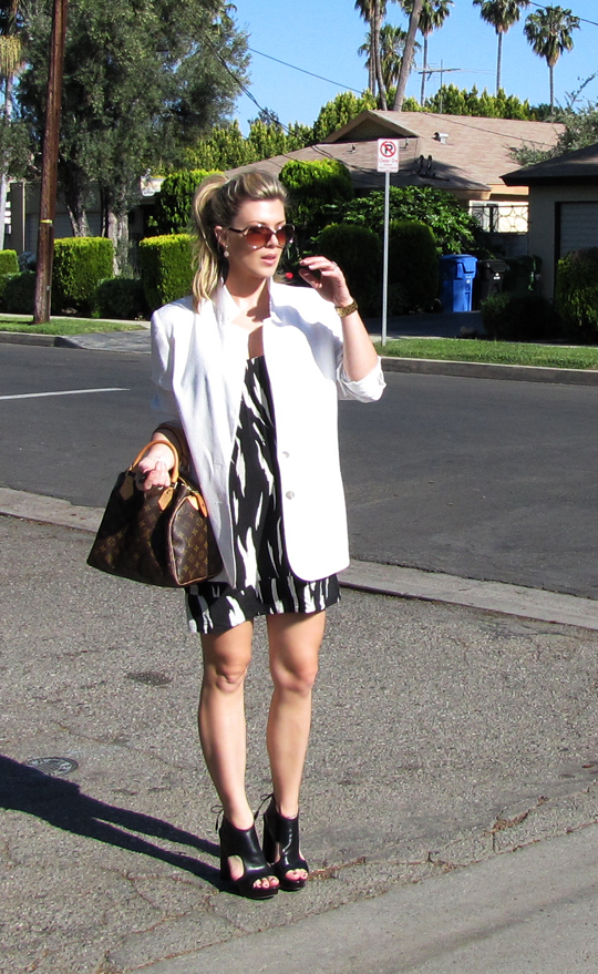 black and white tribal dress+white blazer-10