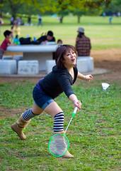 Stretching For The Birdie (aeschylus18917) Tags: park woman cute sports girl beautiful japan tokyo athletics nikon play games kawaii 日本 東京 badminton nerima 105mm nerimaku かわいい 可愛い hikarigaoka 105mmf28 美しい 光が丘 hikarigaokapark 練馬区 utsukushii 105mmf28gvrmicro 光が丘公園 d700 nikkor105mmf28gvrmicro ダニエル danielruyle aeschylus18917 danruyle druyle ルール ダニエルルール