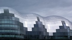 Sage Gateshead (StartTheDay) Tags: blue sky music cloud white black color colour reflection building window glass architecture newcastle square grey panel cloudy gray shell sage tyne gateshead architect foster normanfoster reflect photograph safe curve auditorium quayside