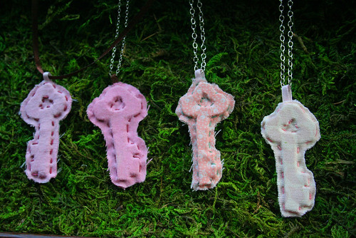 fabric key necklaces