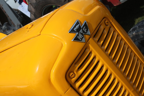 Yellow tractor bonnet