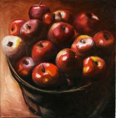 Apples in a Bucket, Oil Painting (happypainting) Tags: painting miniature apple fruit gallery oil original galleriberner atlebernerandersen stilllife