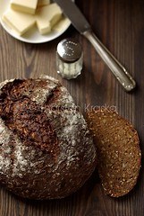 Dark Rye Bread (Thorsten (TK)) Tags: wood food germany bread rustic salt knife fromabove butter easy loaf typical simple regional ryebread brot comforting highangle foodphotography fromtop foodpresentation topdownview thorstenkraska