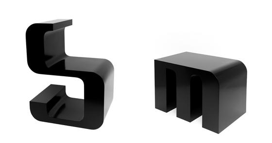 sillas de letras
