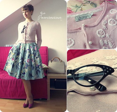 szafiarka, H&M loves Kappahl, kocie okulary, sukienka, lata 50, sweter, kardigan, vintage, retro
