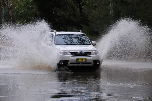Yvonne's Forester gets wet