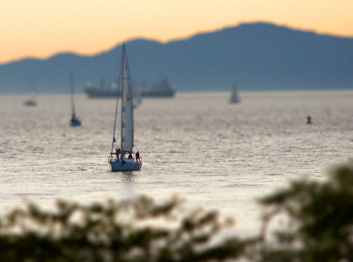 tilt-shift miniature vancouver sunset