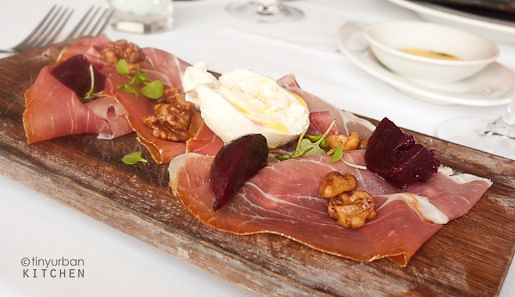 Parma prosciutto… sweet and sour beets, burrata, candied walnuts from Rialto