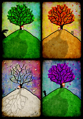 bring me home (crosti) Tags: autumn winter summer snow tree fall illustration spring wolf you 4 fourseasons crows 1year ravens fullbloom crosti christinatsevis