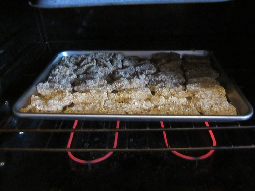 Honey mustard strips in the oven