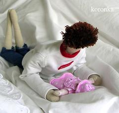Newborn Tilda doll with the daddy ;-) (koronka-m) Tags: doll fabric newborn hania tilda lalka koronka sukienka zabawka noworodek strj tkanina szmaciane