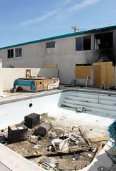 El Cid Hotel (Nick Leonard) Tags: windows pool trash fire hotel garbage downtown rooms sad lasvegas nevada nick damage burned elcid burnedout elcidhotel nickleonard