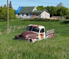 SK10f013 GMC Farm Pickup Truck, Piapot Saskatchewan 2010 (CanadaGood) Tags: blue white canada color colour building green truck farm pickup vehicle sk prairie saskatchewan gmc 2010 generalmotors piapot canadagood thisdecade