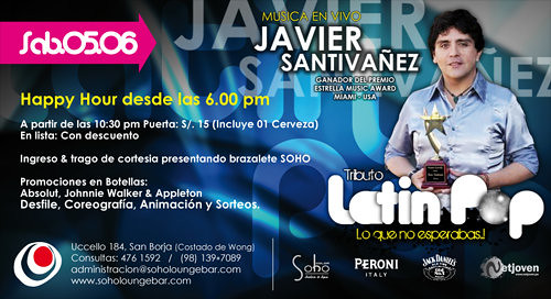 Fiesta Tributo Al Latin Pop - Soho Lounge