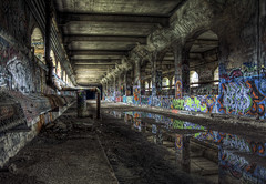 Wet Color ( MggT BrN ) Tags: old rot abandoned broken wet rotting wasted neglect canon dark subway graffiti iso100 scary junk ruins mess paint decay empty messed exploring tag memories neglected ruin tags dirty creepy rochester spooky dirt forgotten urbanexploration messy weathered nik spraypaint disturbing waste void rotten peelingpaint creeper desolate barren derelict broke abandonment hdr highdynamicrange decayed decaying creeping trespassing hdri urbanexploring ue rochesterny topaz lightroom urbex rotted abandonedsubway tonemapped maggotbrain canoneos50d canon50d adobephotoshopcs4 bakedurbex