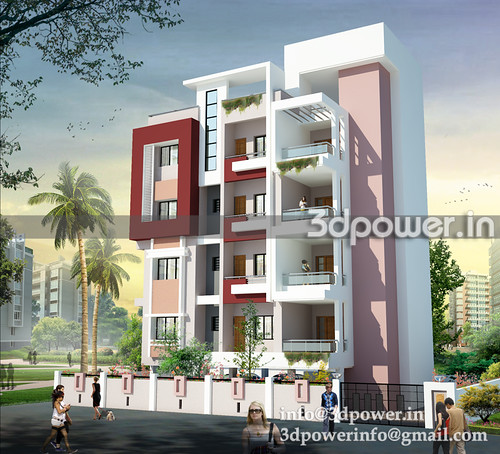3d view apartment_www.3dpower.in_3d rendering india_apartment