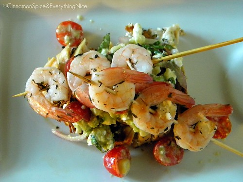 Avocado and Feta Salsa/Salad with Marinated Grilled Chicken and Shrimp Skewers