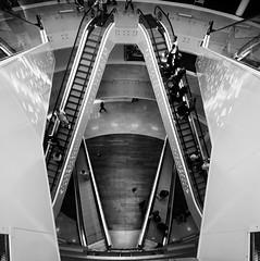 (Julien Chambon) Tags: city people urban white black france floors canon noir lyon geometry symmetry scifi sciencefiction escalators 1020mm blanc gomtrie levels futuristic ville gens carr urbain 10mm symtrie centrecommercial tages commercialcenter futuriste squarre eos1000d humaningeometry