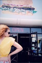 junk fashion 4 (carlafrances) Tags: sunglasses vintage model neon open fastfood bighair coco hamburger disposablecamera shorts budweiser sleaze