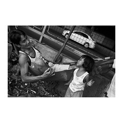 . (Emmanuel Smague) Tags: poverty leica travel family people blackandwhite bw man film girl 35mm thailand photography kid asia child report fat