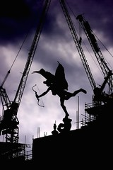 Eros; Love Under Construction (prajpix) Tags: england sky building london love silhouette statue site wings construction god crane picadilly eros cranes bow