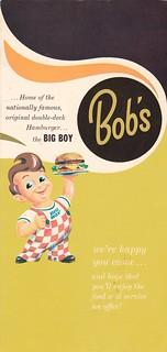 Bob's Big Boy Menu 1965