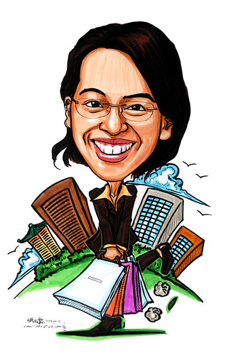 Caricatures for NUS - shopaholic