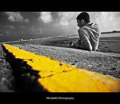 On the Yellow road - self portrait (Feo David) Tags: road sea portrait bw usa mer david black color beach broken yellow america self texas unitedstates hurricane nb explore route whit theo rime frontpage plage destroyed catrina fissure selective portarthur etatsunis