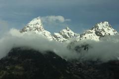 Three peaks in the Teton Range, Grand Teton National Park (Trevor.Huxham) Tags: wyoming grandteton grandtetonnationalpark nationalpark mountains clouds canonef50mmf18ii canoneosrebelxs