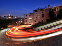 Lousy cell phone drivers (Nocturnal Bob) Tags: sf sanfrancisco california longexposure trees houses sky plants brick wall night headlights cobble coittower baybridge lighttrails telegraphhill taillights russianhill lombardstreet