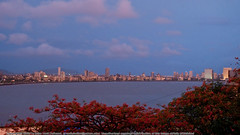 Mumbai Skyline and Clouds (Amit K) Tags: panorama india monsoon mumbai rains 2010 rainyseason marinedrive seaface hanginggarden
