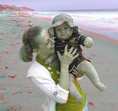 Zuma Beach, Malibu (Anaglyph 3D) (patrick.swinnea) Tags: ocean california baby beach stereoscopic stereophoto 3d sand anaglyph malibu zuma