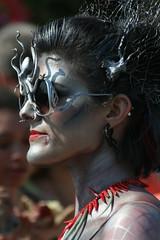 the kraken queen (Genista) Tags: ocean carnival costumes red sea newyork sexy beautiful brooklyn silver coneyisland glasses women cosplay bodypaint event boardwalk colourful mermaidparade burlesque floats kraken