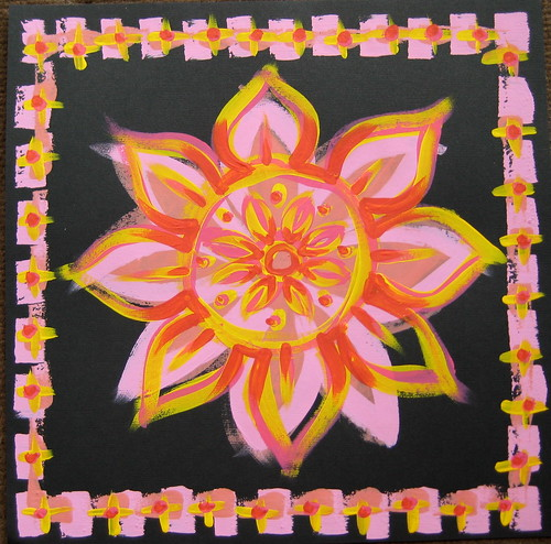 Acrylic Mandala on black scrapbook sheet
