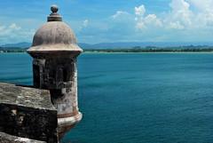 In Blue (thedefiningmoment) Tags: ocean blue sky stone clouds puerto nikon san juan fort box el rico caribbean morro sentry d80