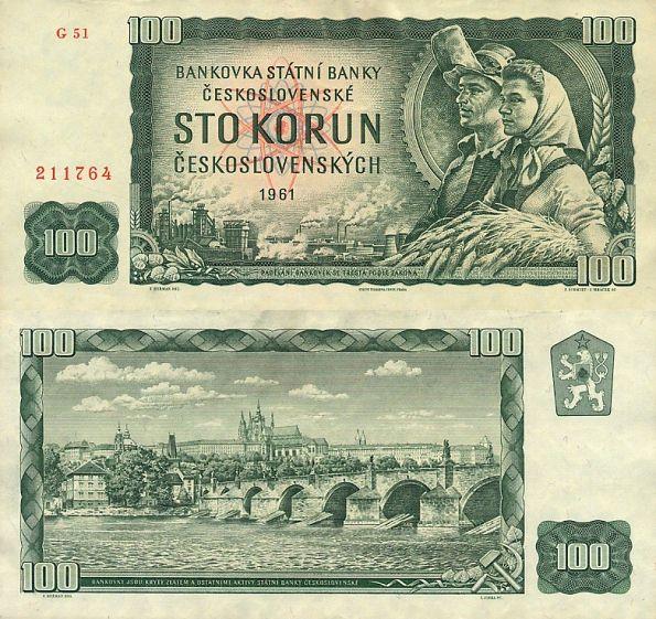 100 Kčs II. Sto korún Československo 1961, II.vydanie