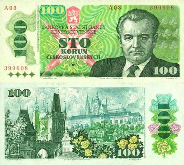 100 Kčs III. Sto korún Československo 1989, K.Gottwald