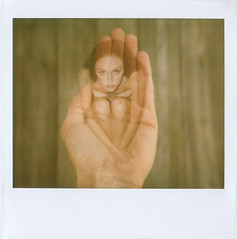 A bird in the hand (jena ardell) Tags: selfportrait polaroid hand doubleexposure palm creepy jenaardell