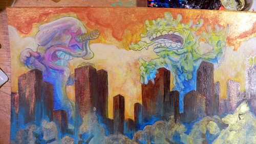 Kaiju Painting Step 7 (detail)