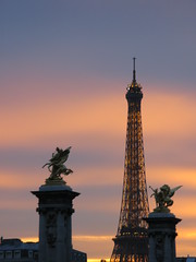 Sunset over the Eiffel Tower