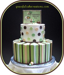 Baby Shower Cake (Graceful Cake Creations) Tags: birthday party baby brown white green classic cakes cake shower monkey image designer chocolate stripes traditional cream ivory balls polka sage special celebration polkadots butter precious round custom edible graceful occasion couture whimsical creations fondant buttercream edibleimage babyshowercake gracefulcakecreations gracefulcakecreationscom