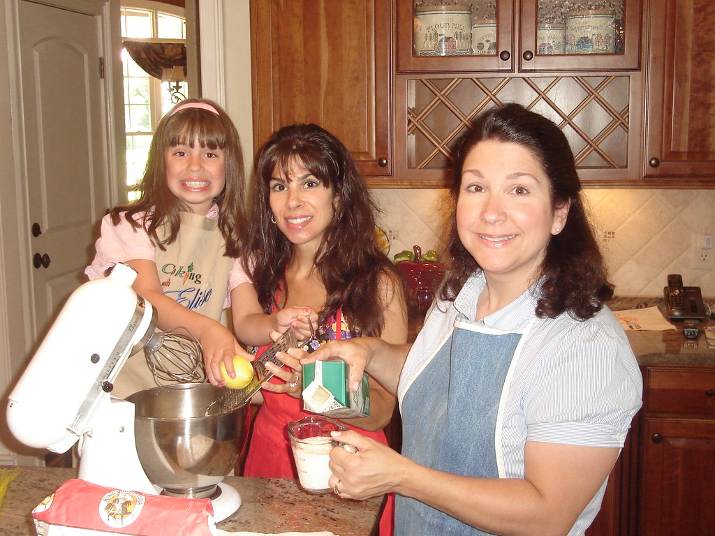 Baking with my sister, April and niece, Julia