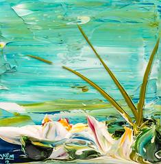 JUSTIN GAFFREY LP12X12-2017-129 (Justin Gaffrey) Tags: waterscape art painting acrylicpaint lake reeds waterlillies lilliepads pond water green aqua blue 12x12 30a sowal artist florida floridaartist justingaffrey