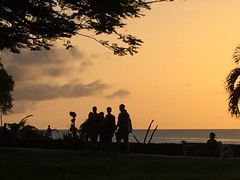 Silhouettes: A tropical sunset moment (peggyhr) Tags: peggyhr silhouettes people ocean trees sunset tobago