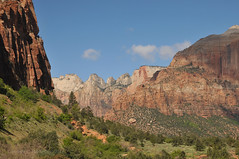 Zion National Park (Vee living life to the full) Tags: nikond300 2017 holiday travel tourism tourist placestovisit traveller pleasure usa california leisure sky blue clouds dry hot haze walking driving temperature 80degreesplus nevada utah arizona distance layers limestone sandstone water evaporation disintegration weathering leger erosion roads route american vehicle rocks rock cliff sheer drop mountains skyline horizon sitting geology sedimentary compression uplift wild road formation monuments valley death nationalpark zion pine trees climbing camping